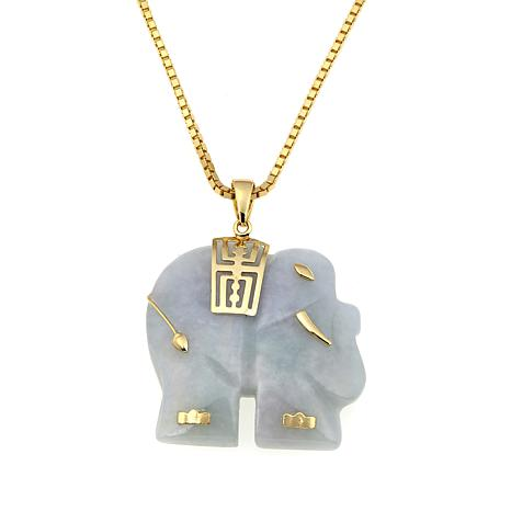 "Jade of Yesteryear Carved Jade Elephant Pendant with 18"" Chain"