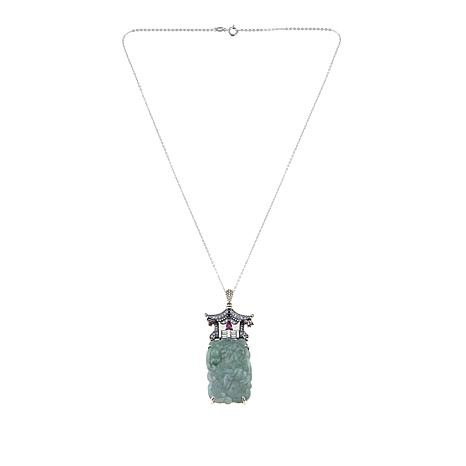 Jade of Yesteryear Carved Rectangular Green Jade, Ruby and CZ Pendant
