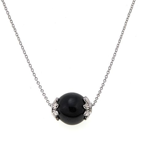 """Jade of Yesteryear Charcoal-Colored Jade Bead Pendant 18"""" Necklace"""