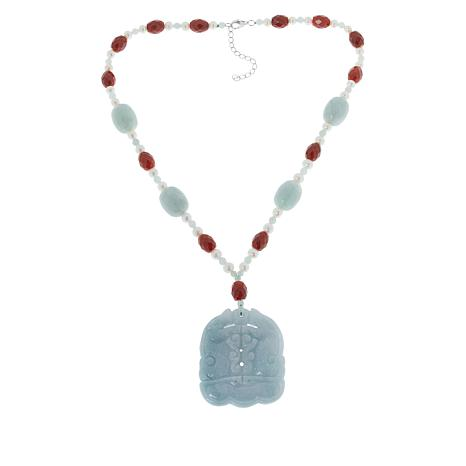 Jade of Yesteryear Cultured Pearl, Red and Green Jade Carved Necklace