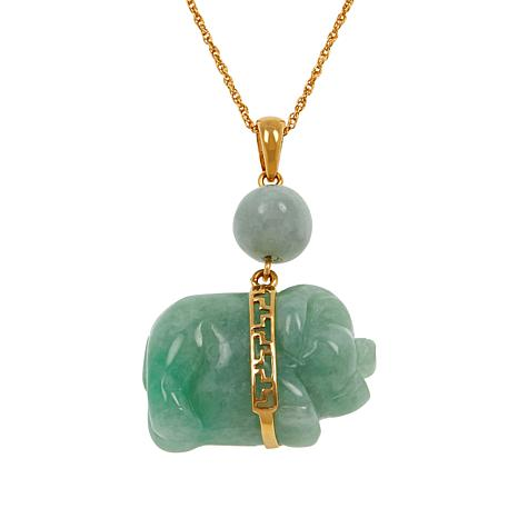 "Jade of Yesteryear Gold-Plated Pig Pendant with 18"" Chain"