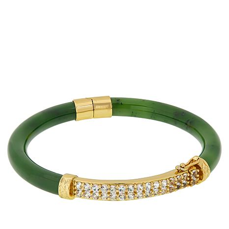 Jade of Yesteryear Goldtone Jade and Gemstone Bangle Bracelet