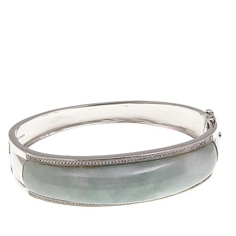 Jade of Yesteryear Green Jade and CZ Bangle Bracelet