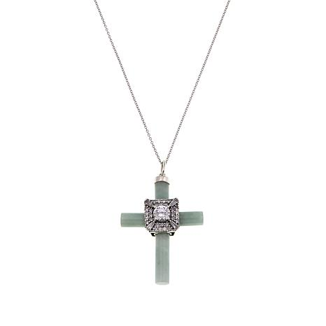 "Jade of Yesteryear Green Jade & CZ Cross Pendant with 18"" Cable Chain"