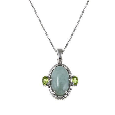 """Jade of Yesteryear Green Jade and Peridot Pendant with 18"""" Chain"""
