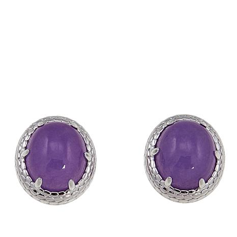 Jade of Yesteryear Lavender Jade Sterling Silver Stud Earrings