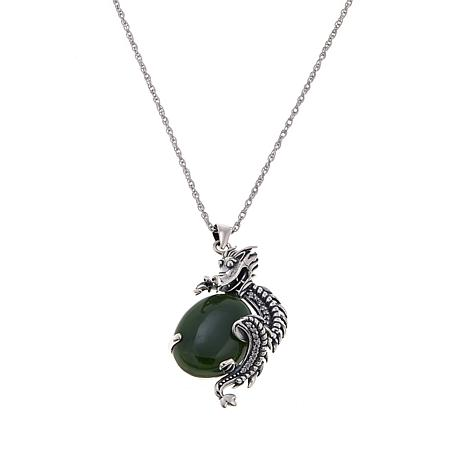 "Jade of Yesteryear Nephrite Jade and CZ Dragon Pendant with 18"" Chain"