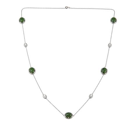 "Jade of Yesteryear Nephrite Jade and White Topaz Station 28"" Necklace"