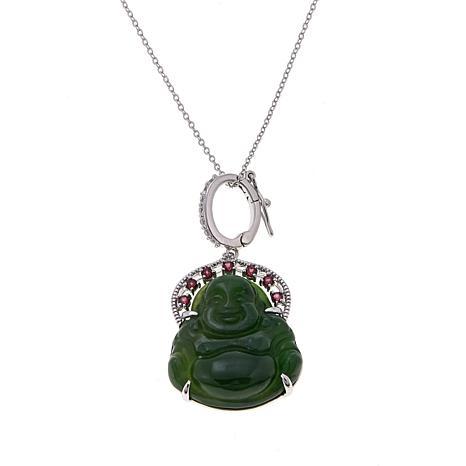 "Jade of Yesteryear Nephrite Jade Buddha and Gem Pendant with 18"" Chain"