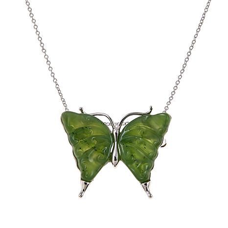 Jade of Yesteryear Nephrite Jade Butterfly Pendant