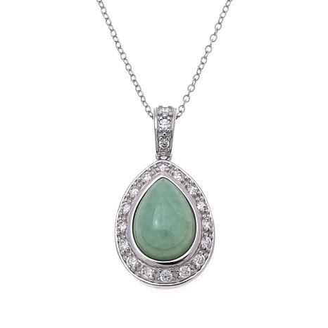 Jade of Yesteryear Pear-Shaped Jade and CZ Pendant