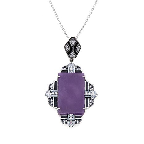 Jade of Yesteryear Purple Jade & CZ Art Deco Pendant