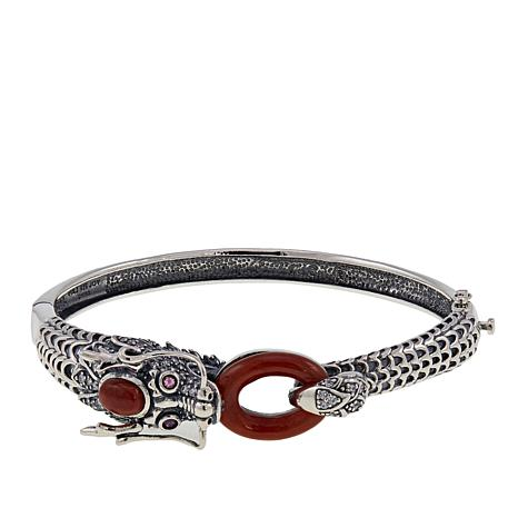 Jade of Yesteryear Red Jade, Ruby and CZ Dragon Bracelet