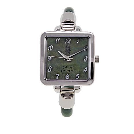 Jade of Yesteryear Silvertone Jade Bangle Watch