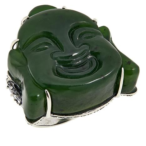 Jade of Yesteryear Sterling Silver Carved Nephrite Jade Buddha Ring