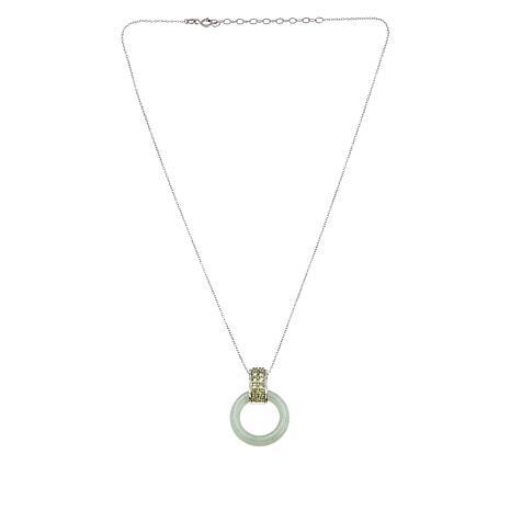 Jade of Yesteryear Sterling Silver Green Jade and Peridot Pendant