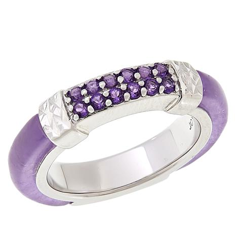 b441c537f Jade of Yesteryear Sterling Silver Purple Jade and Amethyst Band Ring -  8951905 | HSN