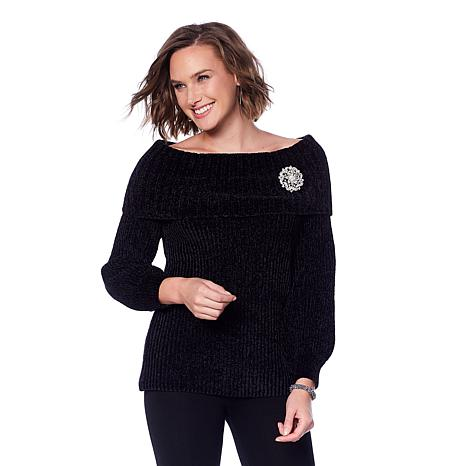 Jamie Gries Chenille Marilyn Collar Sweater with Brooch