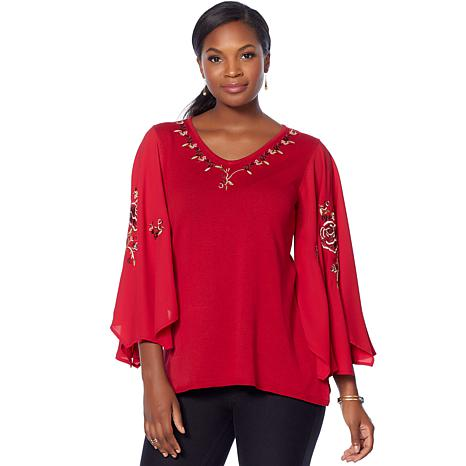 Jamie Gries Embroidered Flared-Sleeve Sweater