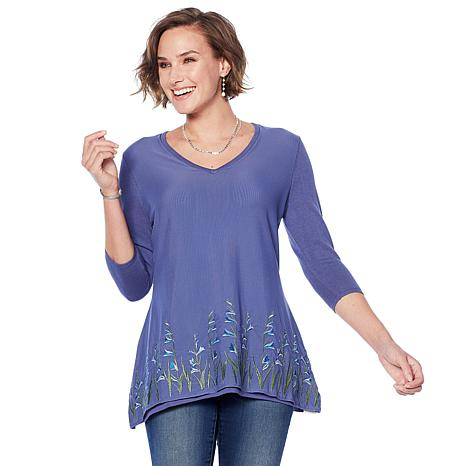 Jamie Gries Embroidered Mesh Overlay V-Neck Sweater