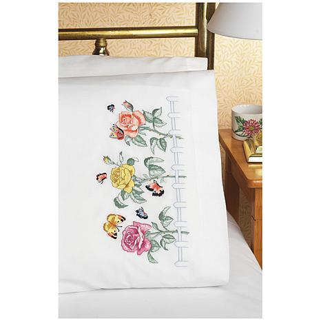 Janlynn Stamped Cross Stitch Pillowcase Pair 20X30 - Rose Garden