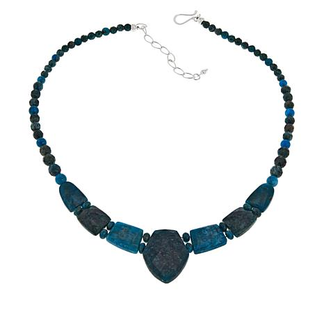 """Jay King 18"""" Sterling Silver Apatite Beaded Drop Necklace"""