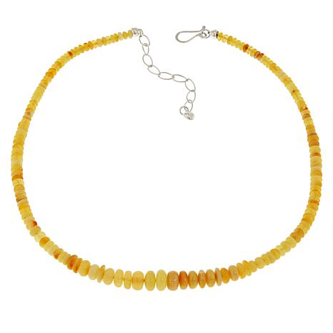 """Jay King 18"""" Sterling Silver Butterscotch Amber Beaded Necklace"""
