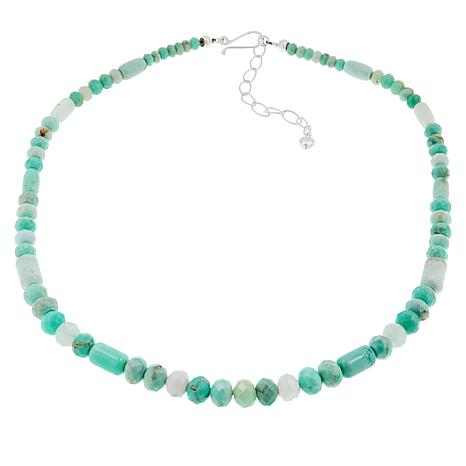"""Jay King 20"""" Sterling Silver Green Opal Beaded Necklace"""