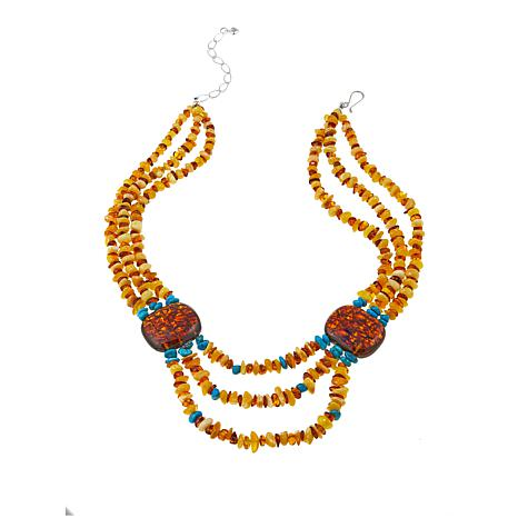 """Jay King 3-Strand Amber and Turquoise 18-1/4"""" Sterling Silver Necklace"""