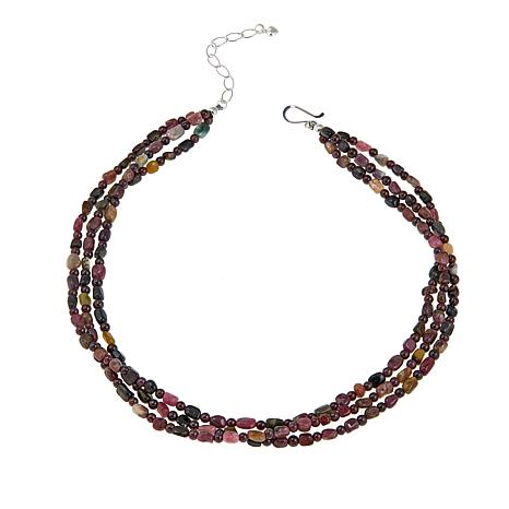 """Jay King 3-Strand Garnet and Tourmaline 18"""" Sterling Silver Necklace"""