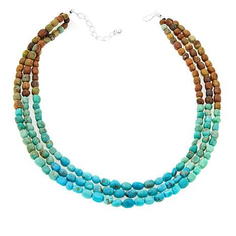 "Jay King 3-Strand Tri-Color Turquoise 18"" Necklace"