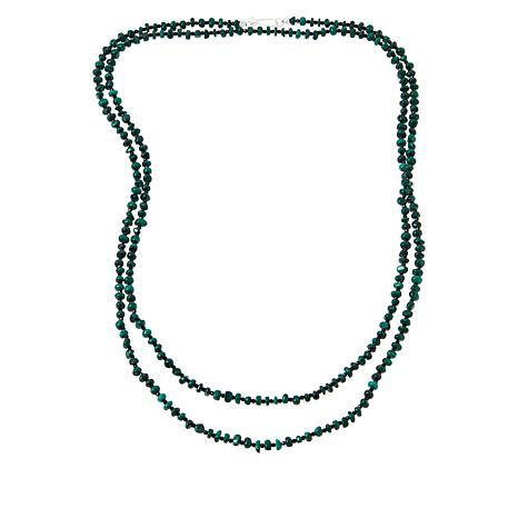 """Jay King 60"""" Sterling Silver Malachite and Black Spinel Bead Necklace"""