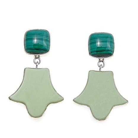 Jay King African Gaspeite and Malachite Drop Earrings