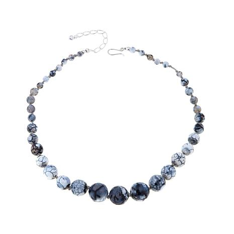 """Jay King Agate Beaded Sterling Silver 20"""" Necklace"""