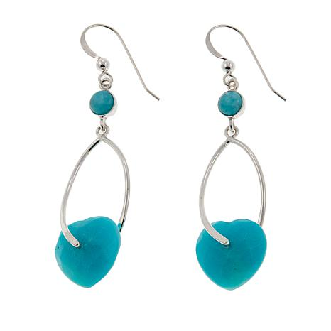 Jay King Amazonite Heart Wishbone Drop Sterling Silver Earrings