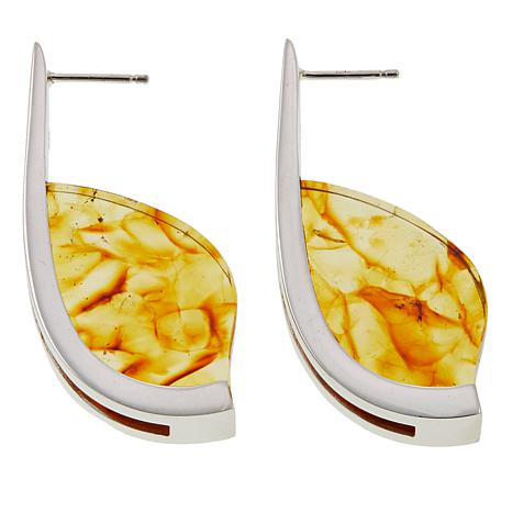 Jay King Amber Slice Sterling Silver J-Hoop Earrings