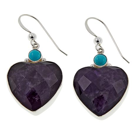 Jay King Amethyst and Andean Blue Turquoise Heart Earrings