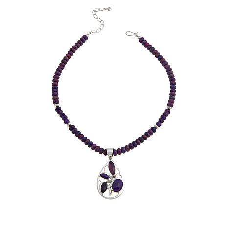 Jay King Amethyst and Purple Turquoise Pendant with Necklace