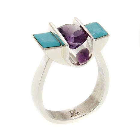 Jay King Amethyst and Turquoise Sterling Silver Ring