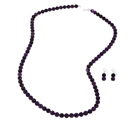 "Jay King Amethyst Bead 36"" Necklace and Earrings Set"