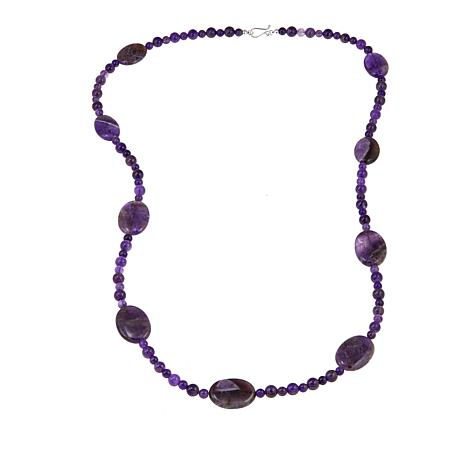 "Jay King Amethyst Bead 36"" Sterling Silver Necklace"