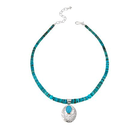 """Jay King Andean Blue Turquoise Floral Pendant with 18"""" Necklace"""