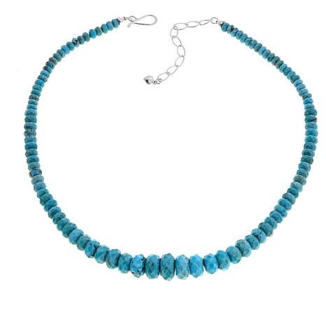 """Jay King Andean Ice Turquoise Bead 18"""" Sterling Silver Necklace"""