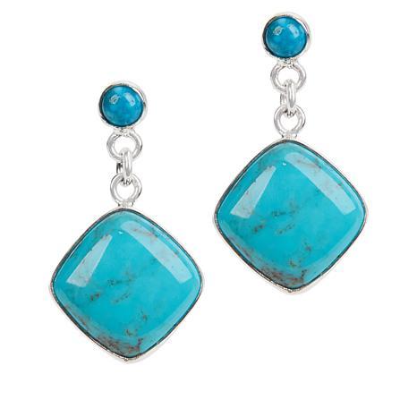 Jay King Angel Peak and Kingman Turquoise Cushion Drop Earrings