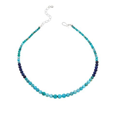 "Jay King Angel Peak Turquoise and Lapis Beaded 18"" Necklace"