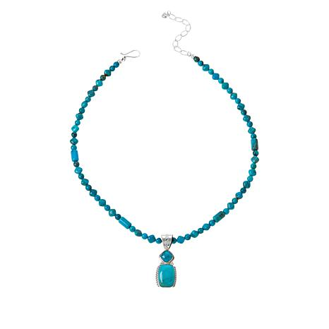 Jay King Angel Peak Turquoise Pendant with Beaded Necklace