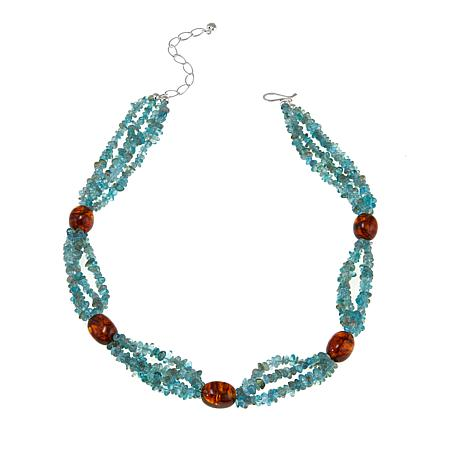 """Jay King Apatite and Amber Sterling Silver Beaded 18"""" Station Necklace"""