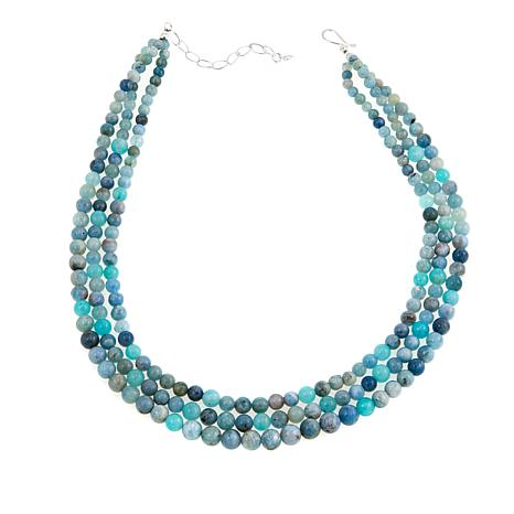 "Jay King Aquamarine and Swan Stone Bead 18"" Sterling Silver Necklace"