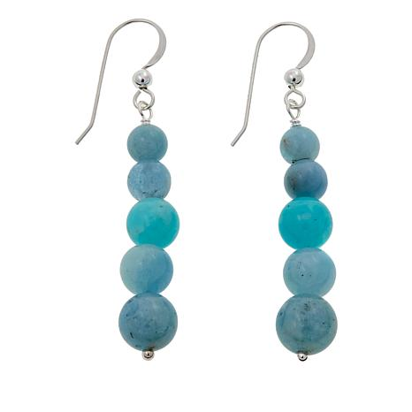 Jay King Aquamarine and Swan Stone Drop Sterling Silver Earrings