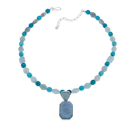 Jay King Aquamarine and Turquoise Sterling Silver Pendant-Necklace
